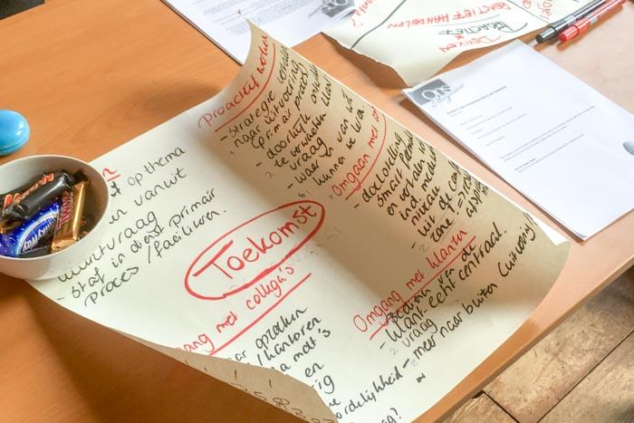 Studiedag ondewijs, Papier met brainstorm Toekomstvisie
